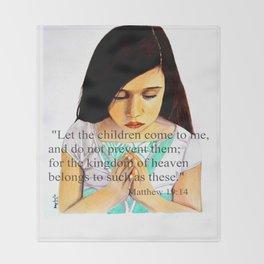 Matthew 19:14 Bible scripture by Saribelle Throw Blanket
