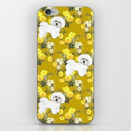 Bichon Frise on Yellow Rose Floral Autumn Gold iPhone Skin