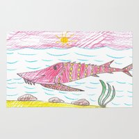 tennessee Area & Throw Rugs featuring Tennessee Lake Sturgeon by Ryan van Gogh