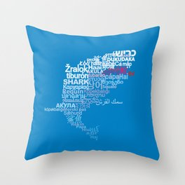 Shark in Different Languages Throw Pillow