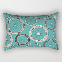 bike wheels turquoise Rectangular Pillow