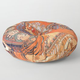 Alphonse Mucha Cycles Perfecta Floor Pillow