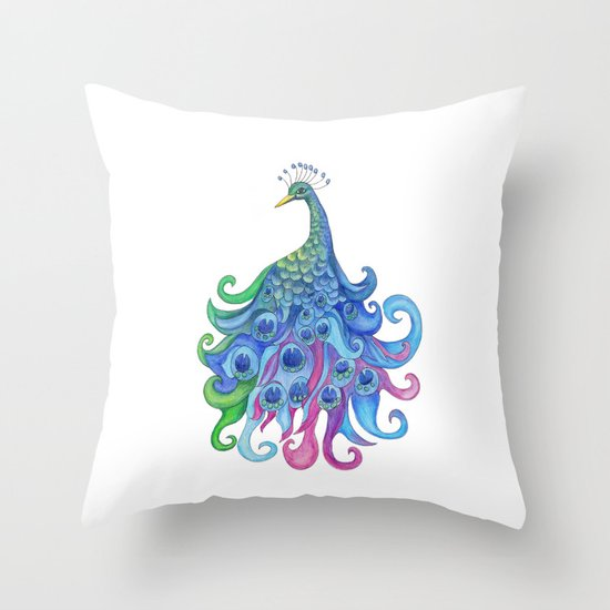 Peaceful Peacock Throw Pillow