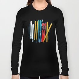 Colorful Ski Illustration and Pattern no 2 Long Sleeve T-shirt