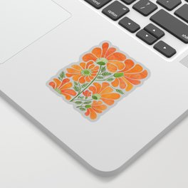 Happy California Poppies / hand drawn flowers Sticker