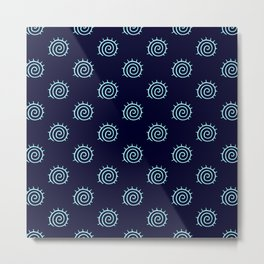 Dark Blue and Turquoise spiral pattern Metal Print