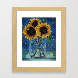 Lightning Bugs and Sunflowers Framed Art Print