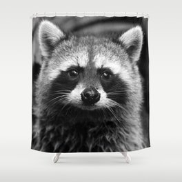 Racoon B & W Shower Curtain