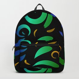 Pattern of colored doodles and curls in floral ornament in ethnic style on a black background. Backpack