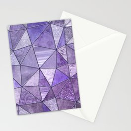 Purple Lilac Glamour Shiny Stained Glass Stationery Cards