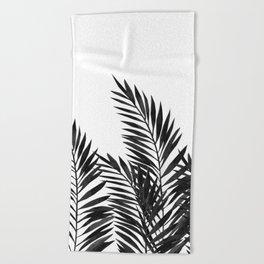 Palm Leaves Black Beach Towel