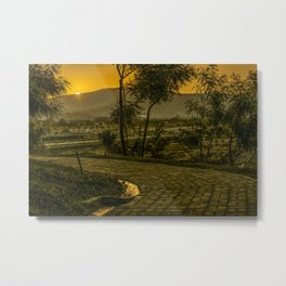 Tropical Landscape Sunset Scene Metal Print