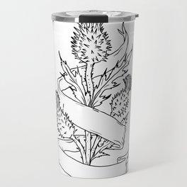 Scottish Thistle With Ribbon Drawing Black and White Travel Mug