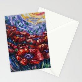 Impressionist Poppy  Field Palette Knife  by OLena Art Stationery Cards