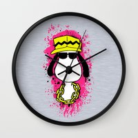 snoopy Wall Clocks featuring Snoopy Dog by Mateus Quandt