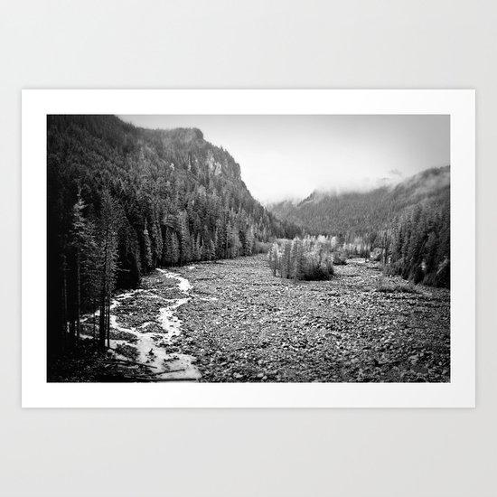 Mountain Valley B&W Art Print