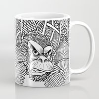 planet of the apes Mugs featuring Rise of the Dawn of the Planet of the Psychedelic Apes by The Rural drawer by Inky Doodles