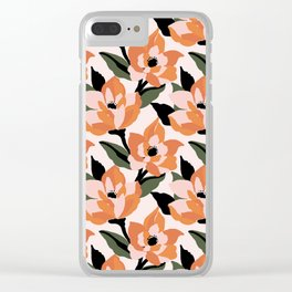 Bold orange poppy on a soft pink base Clear iPhone Case
