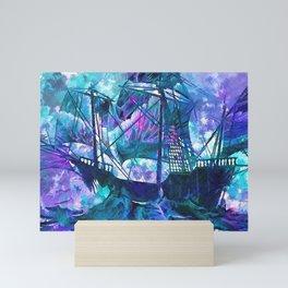 Pink purple blue watercolor brushstrokes old sail ship Mini Art Print