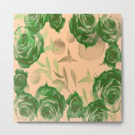 Floating Roses and Petals Metal Print