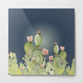 In The Moonlight - Cactus Metal Print