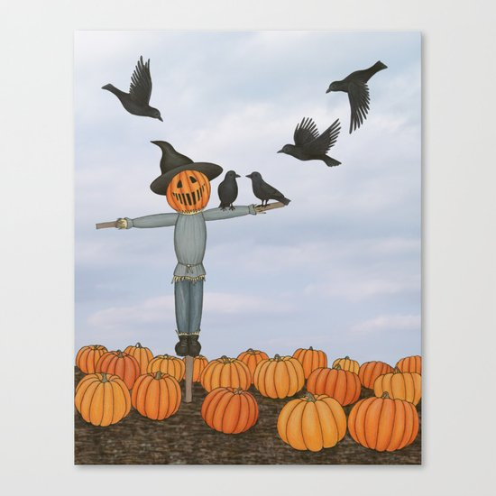 scarecrow and crows in the pumpkin patch Canvas Print