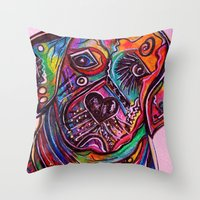 lab Throw Pillows featuring Lovable Lab by EloiseArt
