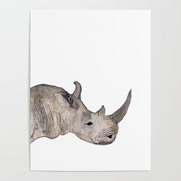 Watercolor Rhino Poster