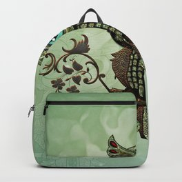 Cute  owl, green diamond Backpack