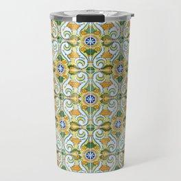 Seamless Floral Pattern Ornamental Tile Design : 9 yellow, green Travel Mug