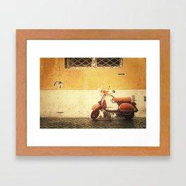 Vespa Orange Framed Art Print