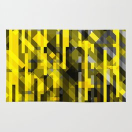 abstract composition in yellow and grays Rug
