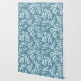 Tropical Escape Teal Blue Leaves + Hibiscus Wallpaper