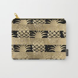 Trendy elegant black faux gold pineapple stripes Carry-All Pouch