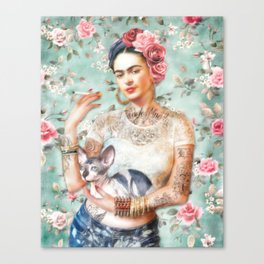 Frida's Exotic Cat Canvas Print