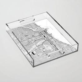 Chicago White Map Acrylic Tray
