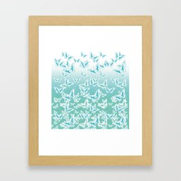 blue butterflies in the sky Framed Art Print