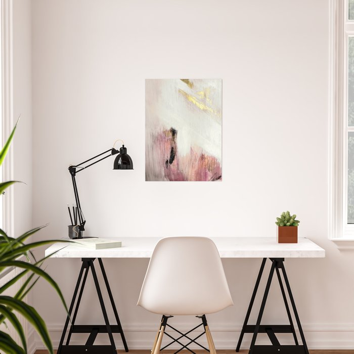 Sunrise [2]: a bright, colorful abstract piece in pink, gold, black,and white Poster
