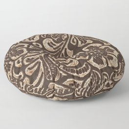 Gold & Brown Flowered Tooled Leather Floor Pillow