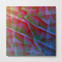 Bright contrasting fragments of crystals on irregularly shaped green and pink triangles. Metal Print