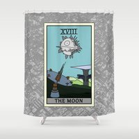 tarot Shower Curtains featuring The Moon - Tarot Card by kamonkey