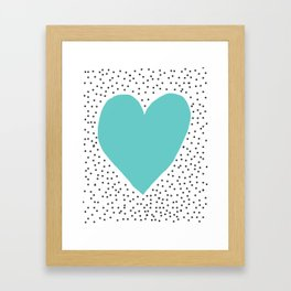 Turquoise heart with grey dots around Framed Art Print