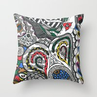 jay fleck Throw Pillows featuring jay by Anouki Art