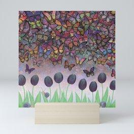 butterfly cascade, tulips, & snails Mini Art Print