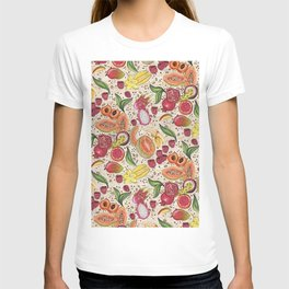 Ready to Eat - Fruit Pattern in White T-shirt