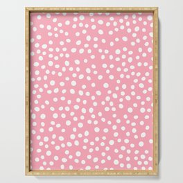 Bright pink and white doodle dots Serving Tray