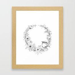Chickadee a top Botanical Wreath Framed Art Print