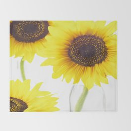 #Three  #Sunflowers for #decorativ #home #decors Throw Blanket