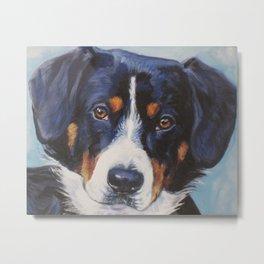 Entlebucher Mountain Dog portrait art from an original painting by L.A.Shepard Metal Print