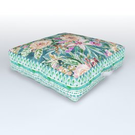 Teal MAUI MINDSET Colorful Tropical Floral Outdoor Floor Cushion